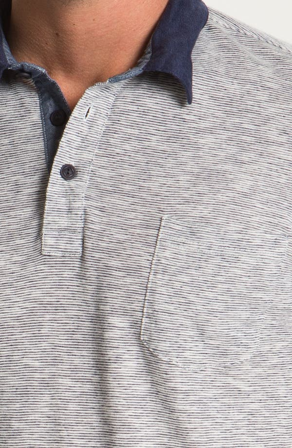 Linen Blend Polo,                             Alternate thumbnail 3, color,                             Navy Blue Multi