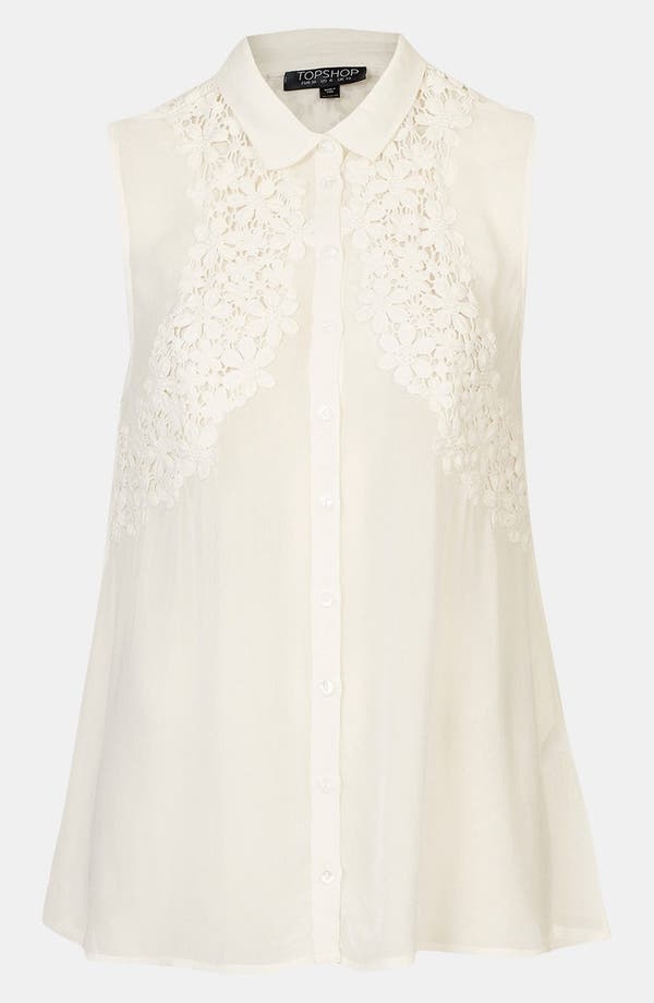 Main Image - Topshop Floral Crochet Sleeveless Shirt