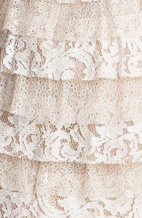 Alternate Image 3  - BCBGMAXAZRIA Lace Panel Ruffle Dress (Petite)
