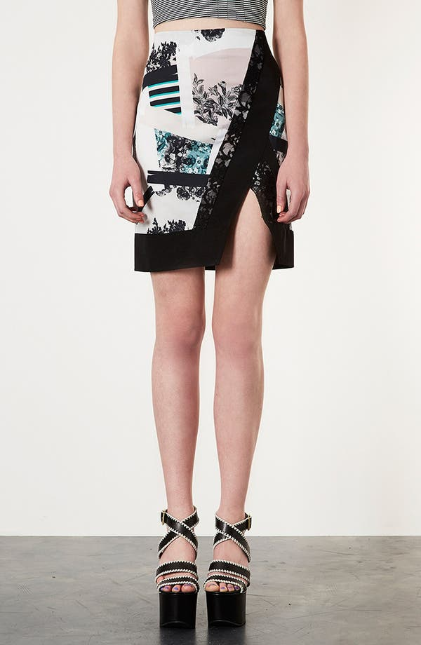 Alternate Image 1 Selected - Topshop 'Paint Stroke' Pencil Skirt