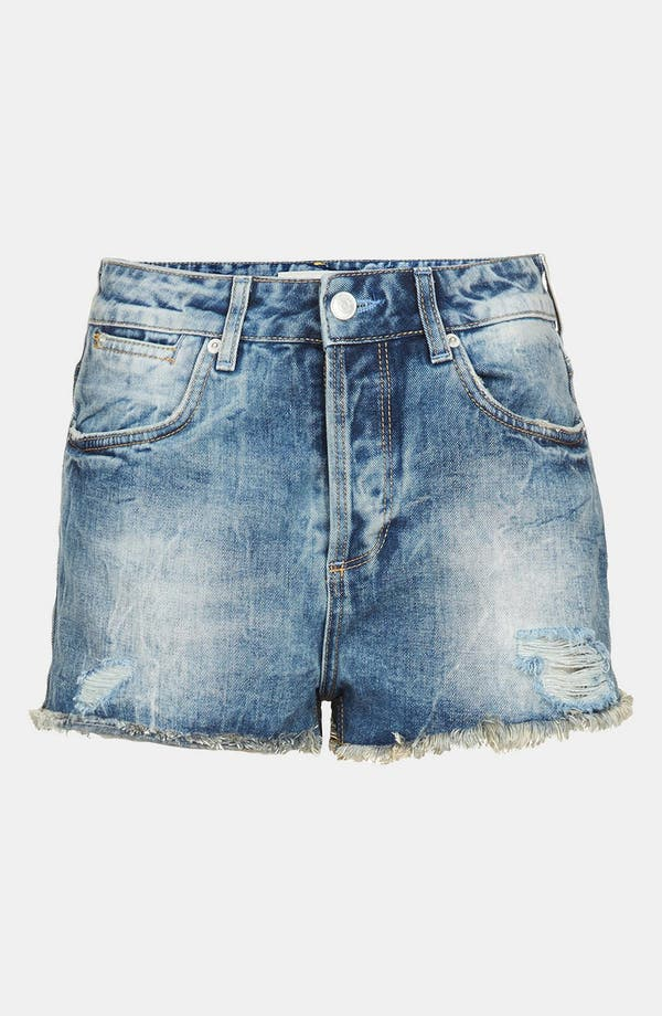 Alternate Image 3  - Topshop 'Waterless Ruthie' Destroyed Cutoff Denim Shorts (Mid Stone)