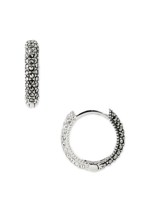Reversible Hoop Earrings,                         Main,                         color, Marcasite / Crystal