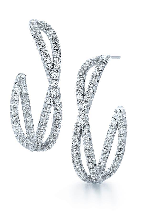 Main Image - Kwiat 'Fidelity' Diamond Hoop Earrings