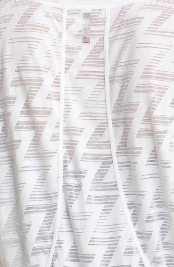 Sheer Pattern Short Sleeve Tee,                             Alternate thumbnail 3, color,                             White