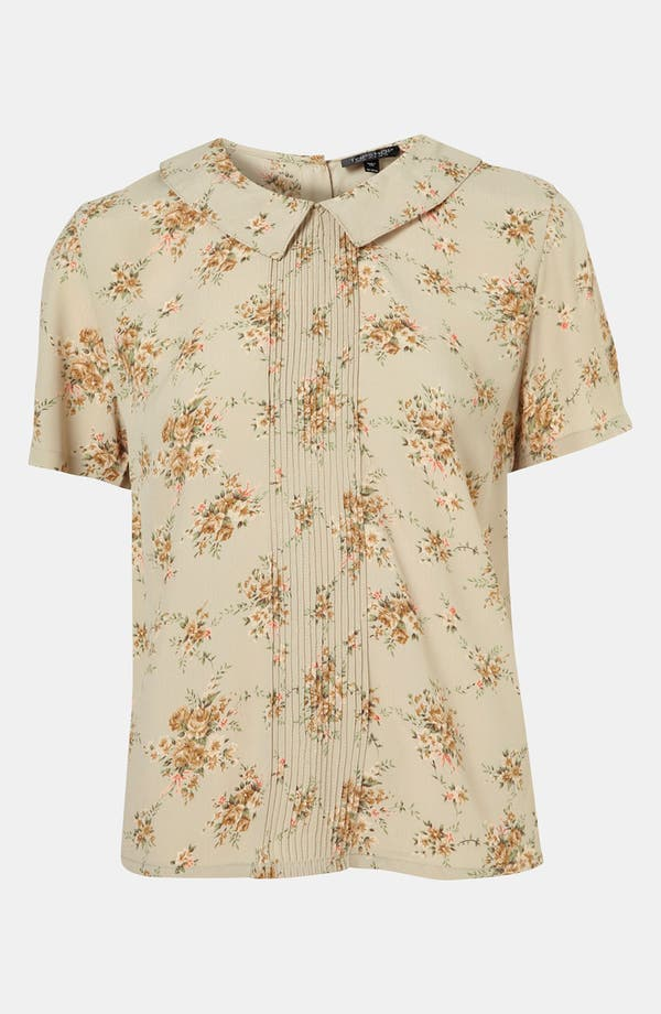 Floral Pintuck Shirt,                         Main,                         color, Sage