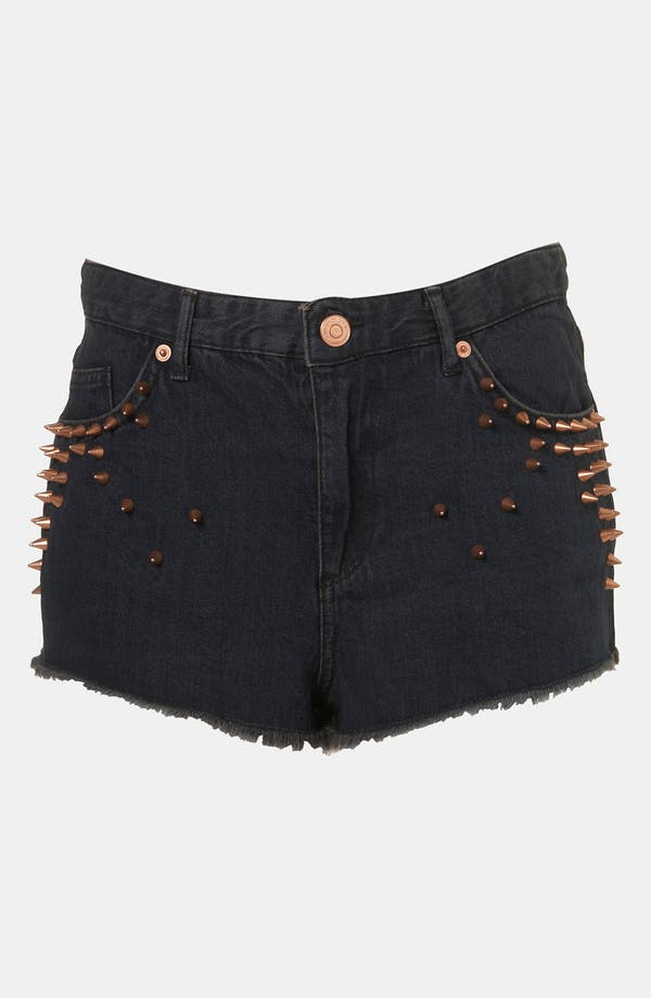 Alternate Image 1 Selected - Topshop 'Holly' Studded Denim Hot Pants