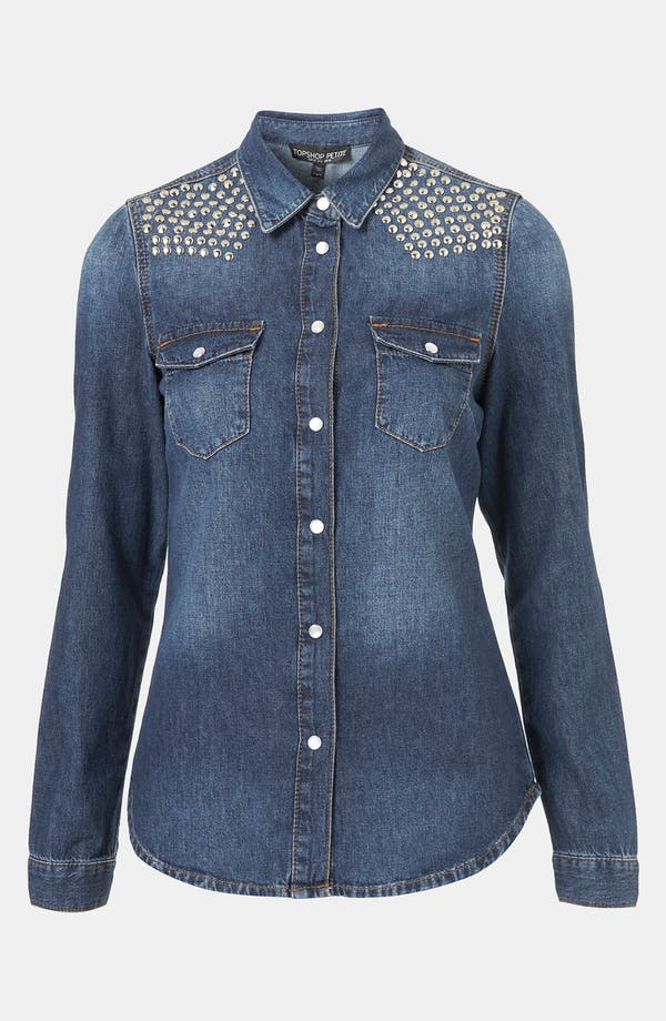 Main Image - Topshop 'Dillon' Studded Denim Shirt (Petite)
