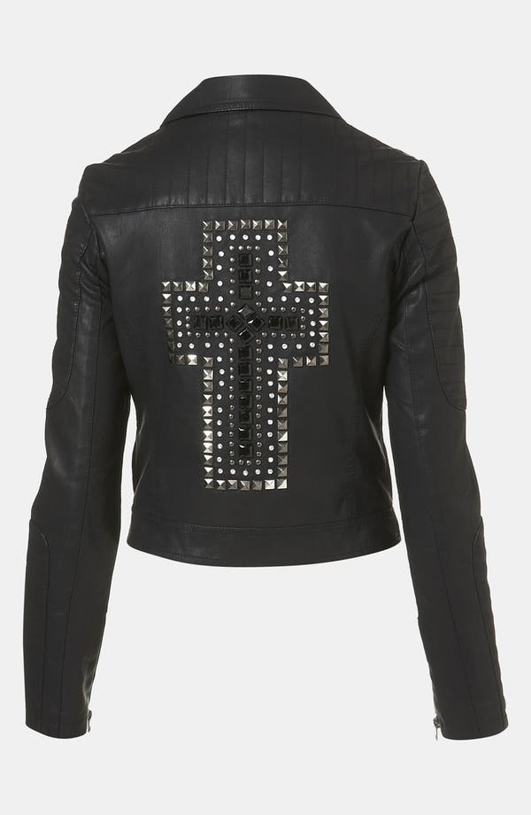 Main Image - Topshop 'Cross' Studded Faux Leather Jacket