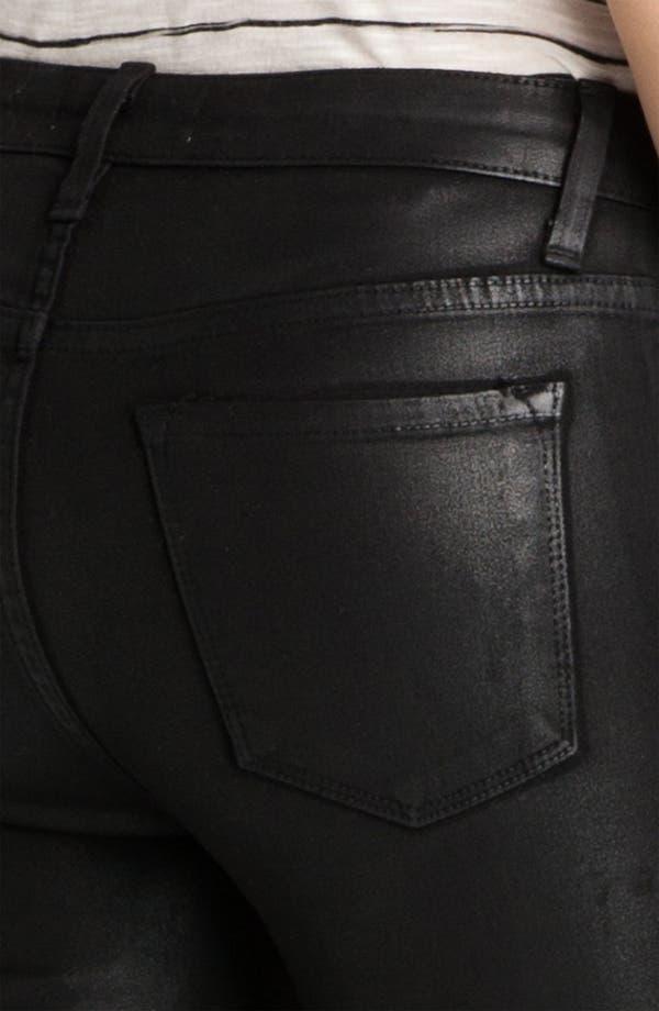 Sarah & George Coated Denim Jeans,                             Alternate thumbnail 3, color,                             Black