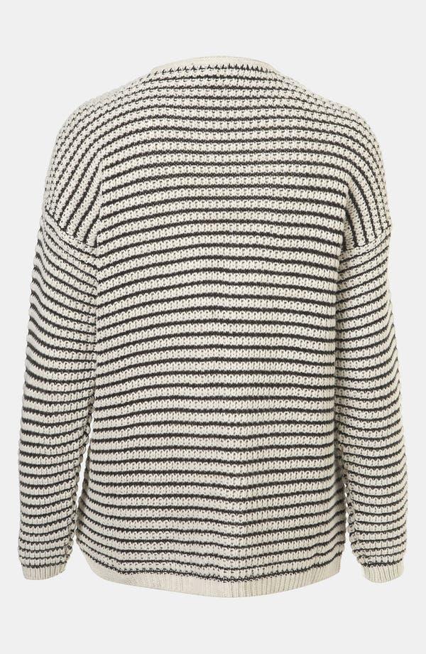 Alternate Image 2  - Topshop Stripe Textured Stitch Cardigan