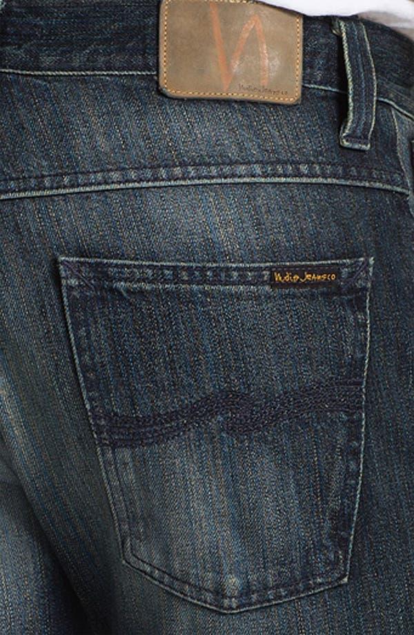 Alternate Image 4  - Nudie 'Average Joe' Straight Leg Jeans (Organic Black and Blue)