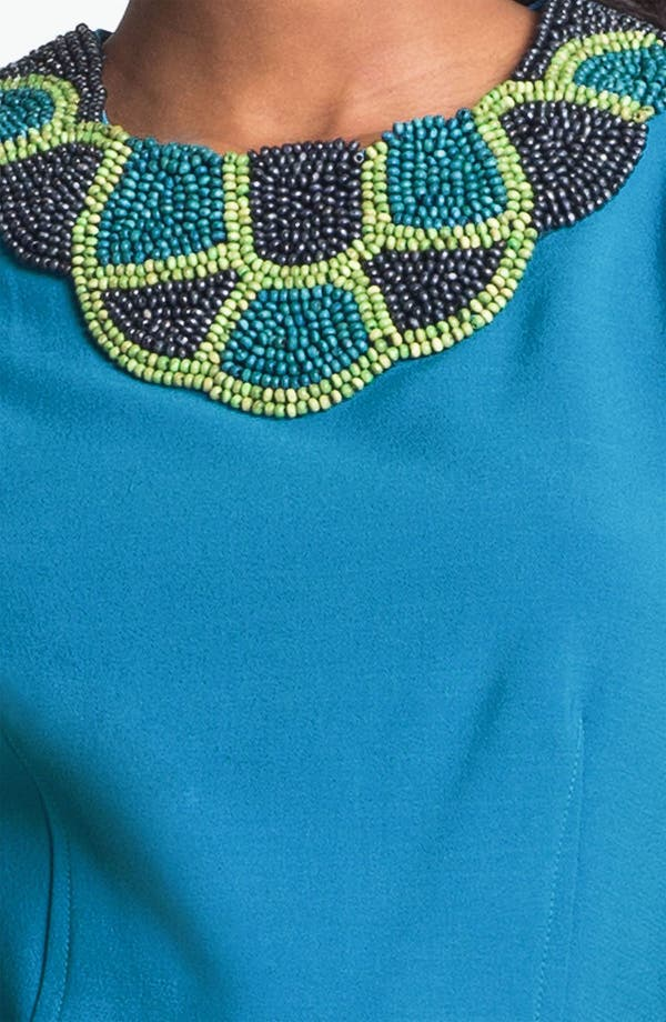 Alternate Image 3  - Taylor Dresses Beaded Neck Crepe Sheath Dress