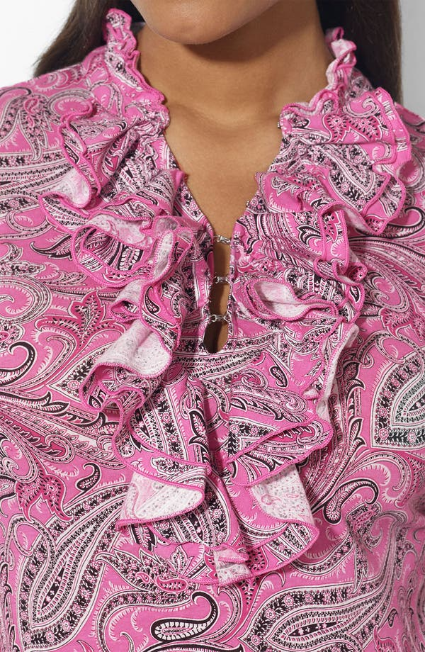 Alternate Image 3  - Lauren Ralph Lauren Print Ruffled Top (Plus)