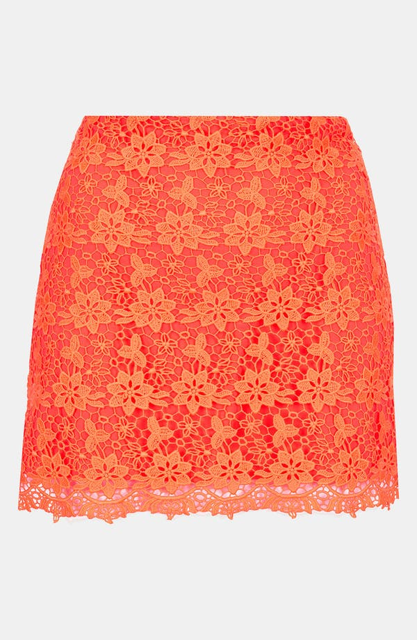 Main Image - Topshop Fluorescent Lace Skirt