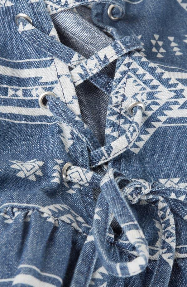 Alternate Image 4  - Topshop Moto Lace Up Tribal Print Denim Dress