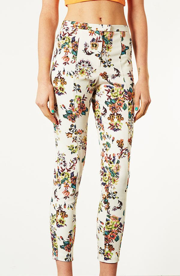 Alternate Image 1 Selected - Topshop Pixelated Floral High Waist Pants
