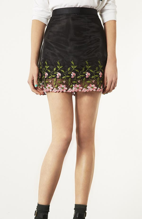 Main Image - Topshop Embroidered Organza A-Line Miniskirt