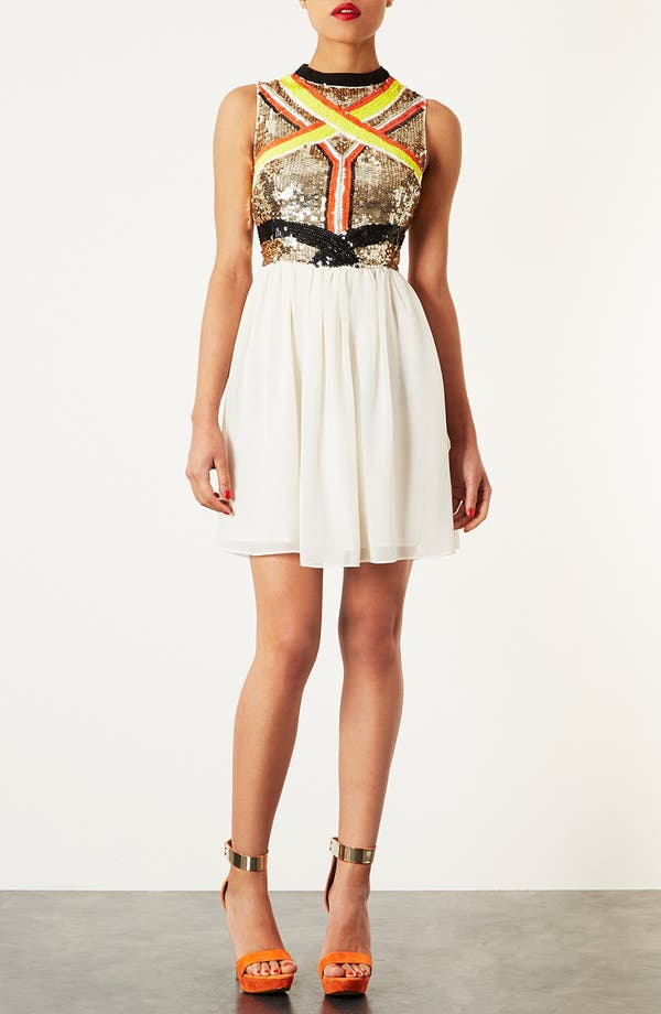 Alternate Image 2  - Topshop Sequin Panel Skater Dress