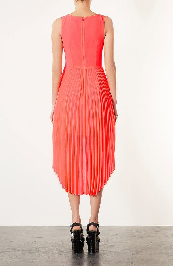 Alternate Image 2  - Topshop Pleated High/Low Dress