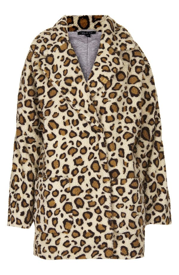 Alternate Image 3  - Topshop Leopard Borg Coat