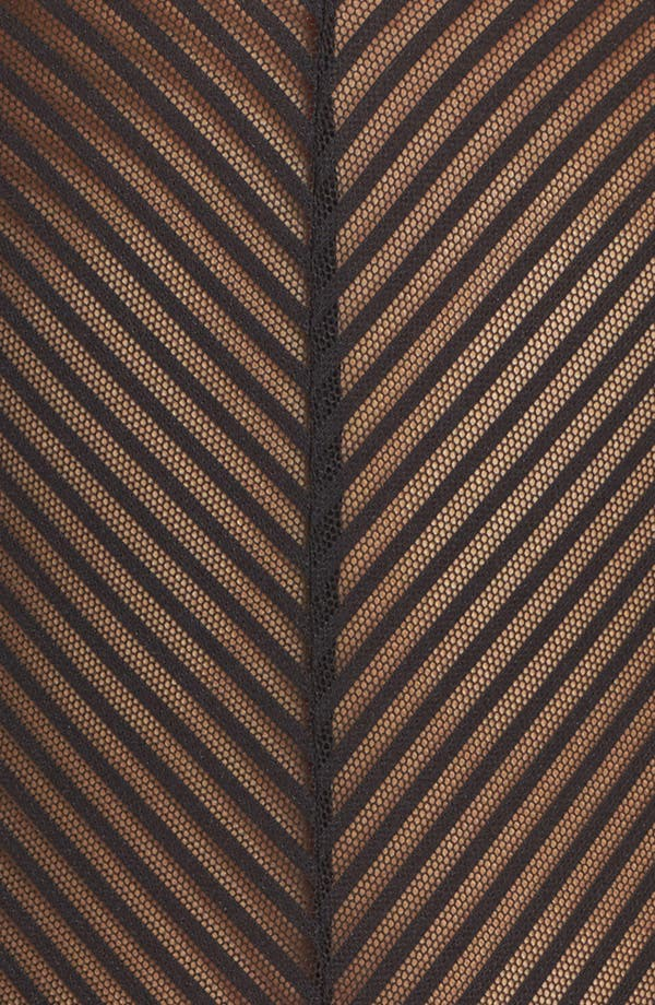 Shiny Stripe Bodysuit,                             Alternate thumbnail 6, color,                             Black