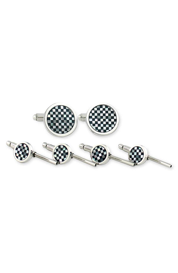 Cuff Links & Studs Set,                             Main thumbnail 1, color,                             Onyx / Mother Of Pearl