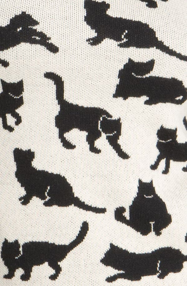Cat Sweater,                             Alternate thumbnail 3, color,                             Black/ Soft White