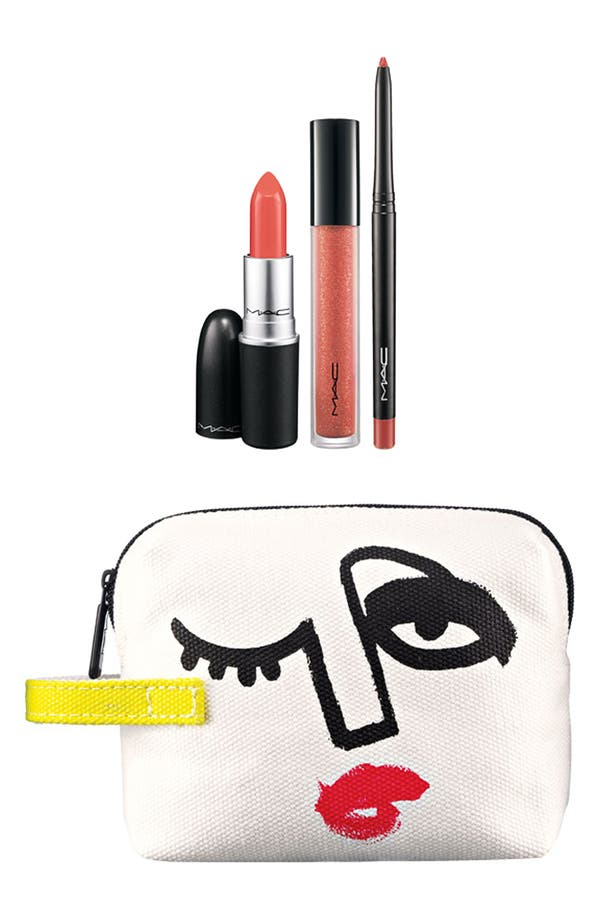 Alternate Image 1 Selected - M·A·C 'Illustrated - Peach x3' Lip Color & Bag by Julie Verhoeven (Nordstrom Exclusive) ($54.50 Value)
