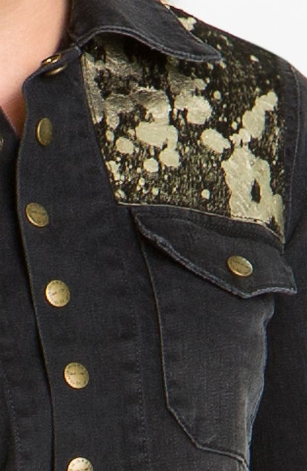 Alternate Image 3  - Current/Elliott 'The Snap' Metallic Leather & Denim Jacket