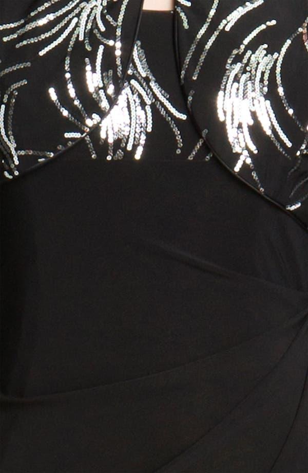 Alternate Image 4  - Alex Evenings Side Drape Jersey Gown & Sequin Jacket