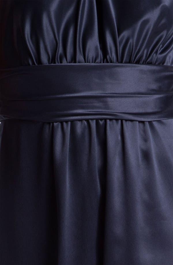 Alternate Image 3  - Amsale Tie Neck Satin A-Line Gown
