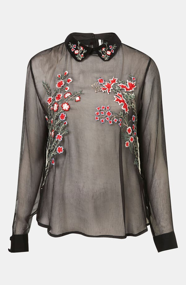 Main Image - Topshop Embroidered Sheer Shirt