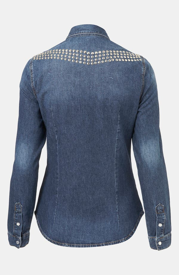 Alternate Image 2  - Topshop 'Dillon' Studded Denim Shirt (Petite)