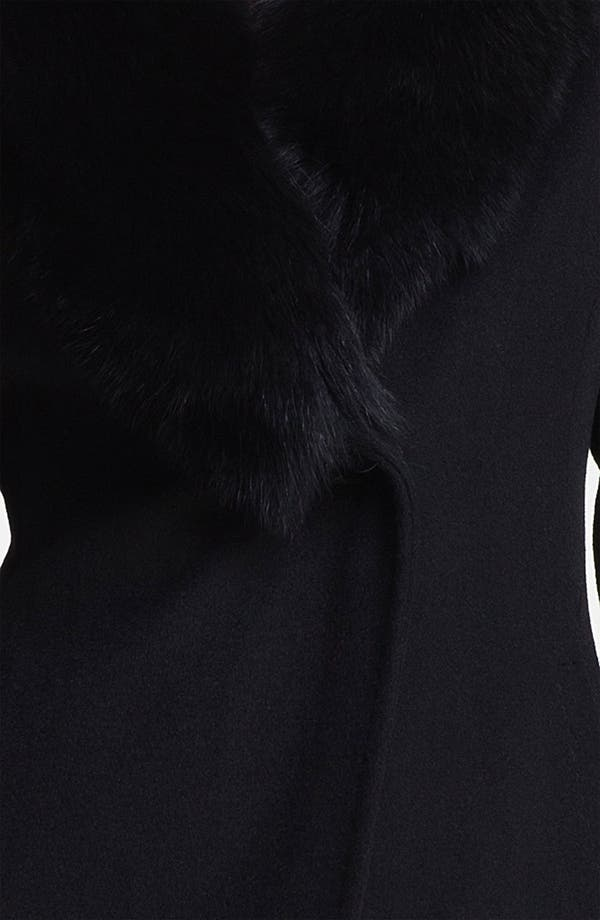 Alternate Image 3  - Ellen Tracy Genuine Fox Fur Trim Wrap Coat (Petite)