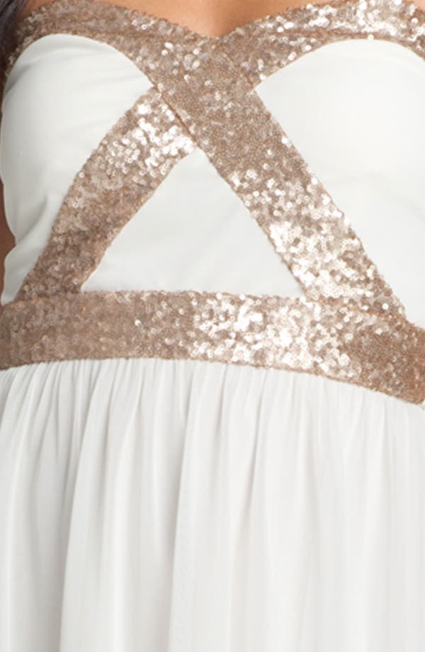 Alternate Image 3  - Trixxi Sequin Strapless Goddess Dress (Juniors)