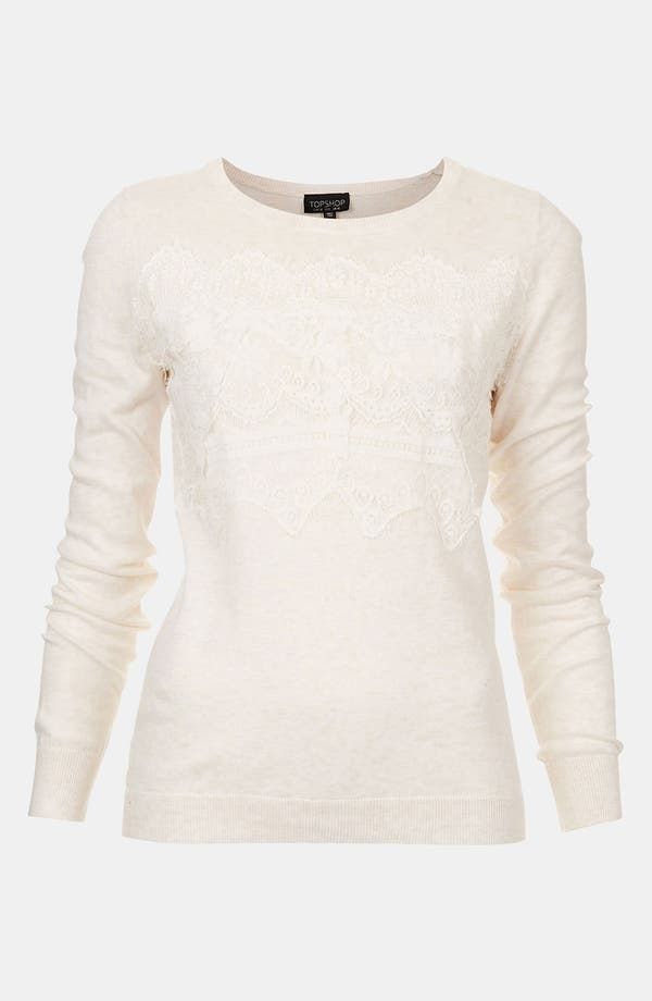 Alternate Image 1 Selected - Topshop Lace Trim Sweater