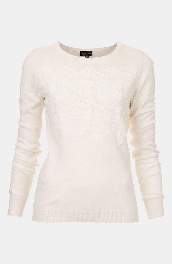 Main Image - Topshop Lace Trim Sweater