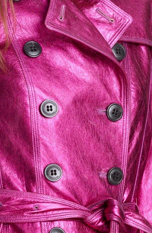 London Metallic Leather Trench Coat,                             Alternate thumbnail 3, color,                             Fuchsia