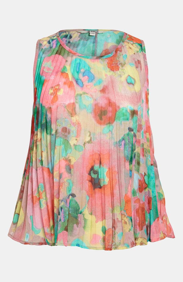 Main Image - BB Dakota Watercolor Print Pleated Top