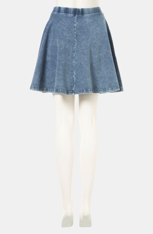 'Andie' Denim Skater Skirt,                             Alternate thumbnail 2, color,                             Blue