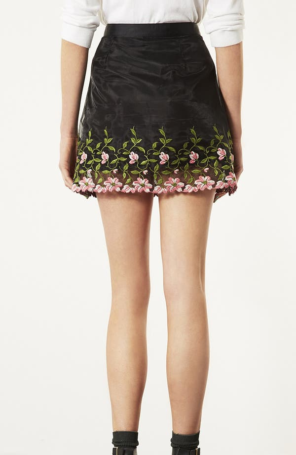 Alternate Image 2  - Topshop Embroidered Organza A-Line Miniskirt