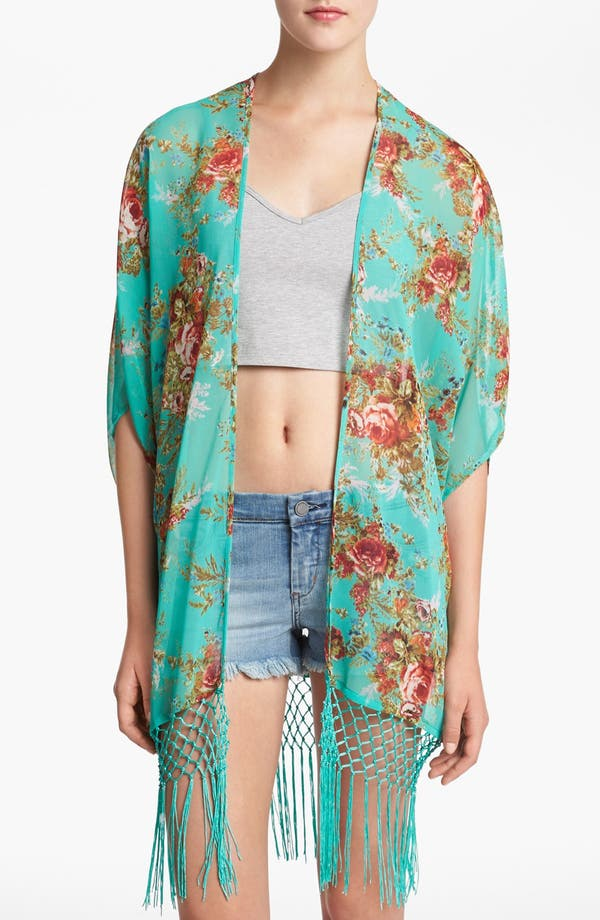 Alternate Image 1 Selected - WAYF Floral Fringe Cardigan