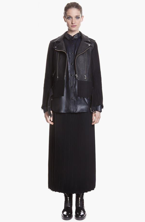 Main Image - sandro 'Version' Belted Leather & Wool Moto Jacket