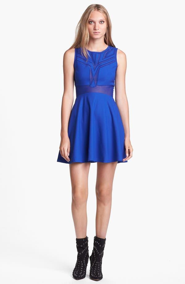 Alternate Image 1 Selected - ASTR Sheer Panel Fit & Flare Dress