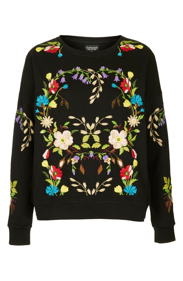 Alternate Image 3  - Topshop Embroidered Floral Sweatshirt