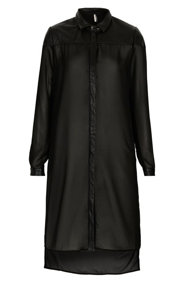 Main Image - Topshop 'The Collection Starring Kate Bosworth' Leather Trim Shirtdress