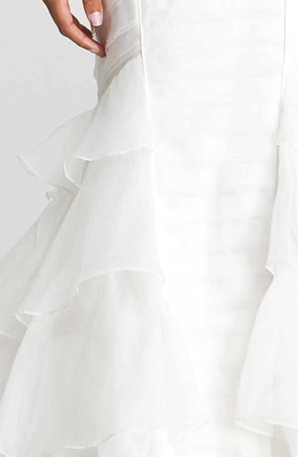 Alternate Image 3  - Theia Cap Sleeve Mermaid Silk Organza Gown