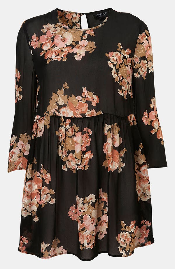 Alternate Image 1 Selected - Topshop Floral Print Cutout Back Tunic