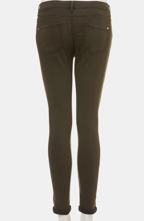 Alternate Image 2  - Topshop Moto 'Leigh' Skinny Jeans (Dark Khaki) (Petite)