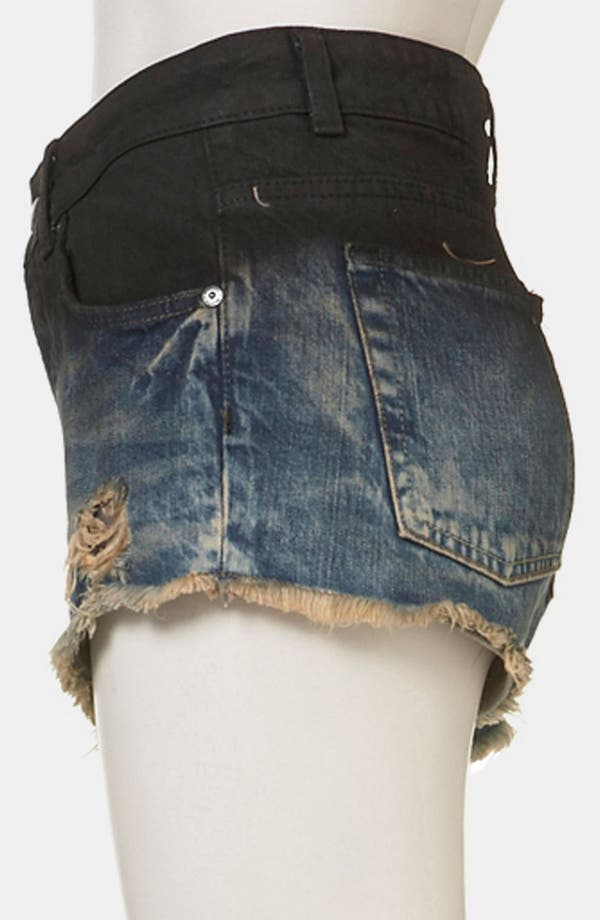 Alternate Image 3  - Topshop Moto 'Ruthie' Die Dyed Denim Shorts